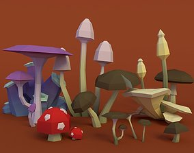 Mushroom Pack Low Poly Cheap 3D asset