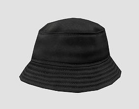 3D asset Bucket hat - black
