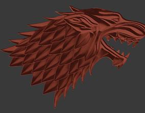3D print model Stark wolf baner relief