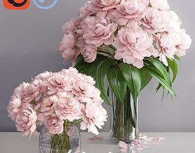 Elegant pink peonies in 2 vases 3D