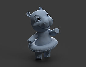 3D printable model baby hippo toy figure