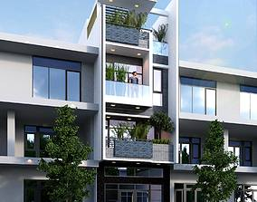 apartment-building animated House design 3d model