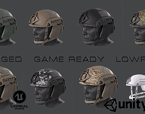 Helmet 3D model rigged game-ready