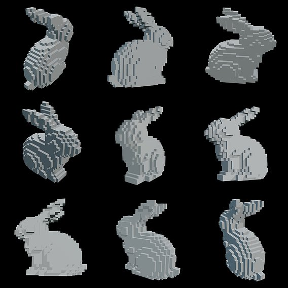 Pixel Rabbit Low-poly 3D model