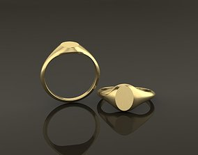 Dainty Thin Signet Ring Vertical Oval Mix 3D print model 1