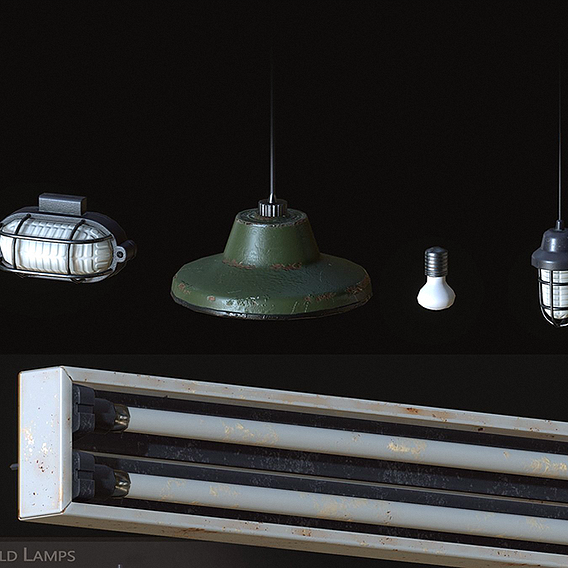Old Lamps Low-poly 3D model