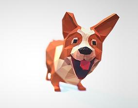 3D asset animated Dog corgi