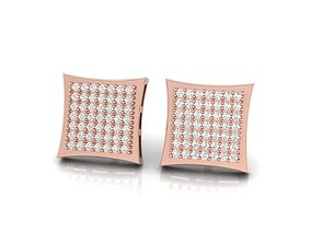Square Diamond Stud Earrings 3D printable model