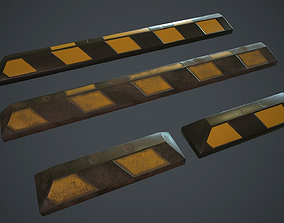 3D asset Rubber Parking Curb PBR Game Ready