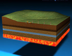 Geotermic plant cutaway 3D model