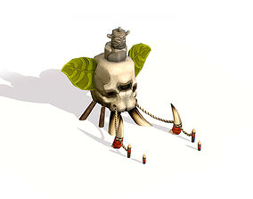 Handpaint Cartoon Stone Memorial Skull Totem 3D model