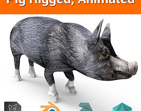 animated VR / AR ready Pig Rigged Animated 3D model