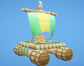 3D model Raft Hand-Painted