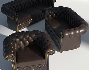 3D model Chesterfield Sofa Set Brown