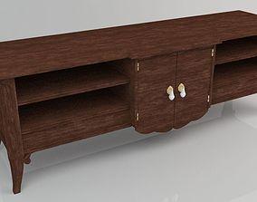 desk cabinet 3D model Wooden Table