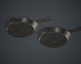 3D asset Cast Iron Frying Pan PBR Game Ready