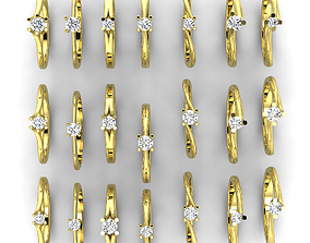 3D printable model 21 ring with different stones 81