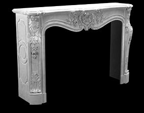 3D Beautiful antique Louis XV style fireplace with 2