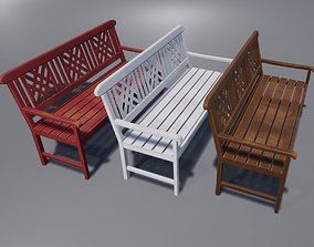 3D model low-poly Classic Bench