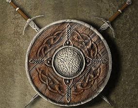 Shield and swords 3D model
