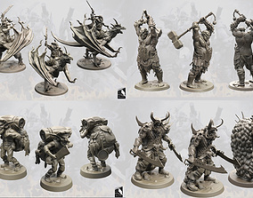 3D Fantasy Army 28 - 52 mm scale 8 models