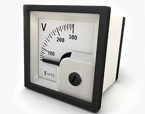 3D Analog Panel DC Voltmeter 02