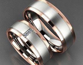 Two-tone Matte Wedding Rings 3D print model