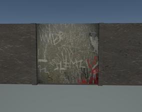 3D model game-ready Graffiti wall
