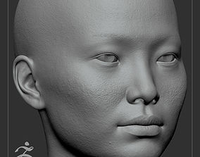 3D Average Asian Female Head Basemesh