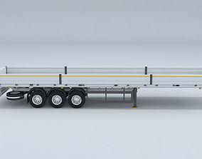 TRUCK flatbed trailer 3D model 3D model industrial