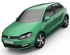 animated low-poly Volkswagen Polo Hatchback 3D Model