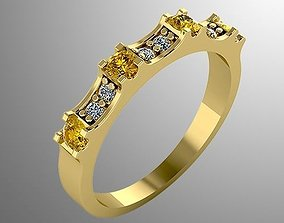 Ring n 3 with yellow gems 3D print model
