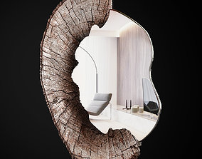 Wood round Mirror low poly 3d model realtime