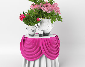 Vase lutos with Peony 3D