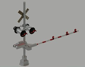 3D model Level crossing - Railroad crossing with lights US