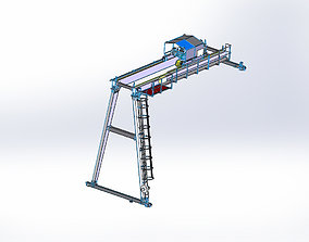 10t semi gantry crane 3D model