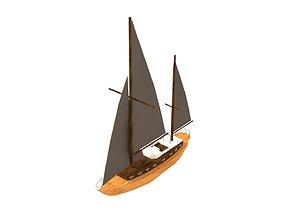 Decorative boat 3D model realtime