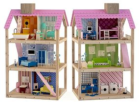 3D Wooden House for dolls Toy house 3