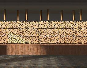 3D model wooden beam log chuck panels