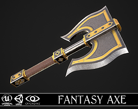 3D asset game-ready Fantasy Axe 1C