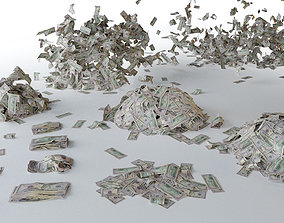 3D model USD Money Piles Stacks and Explosions