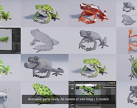 Animated game ready 3d models of tree frogs animal