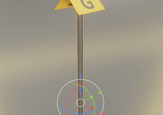 Flight Marker Hood With Aluminum Posts 400x300mm 45°  (Blender-2.92 Eevee)