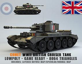 3D asset Low Poly A34 Comet Cruiser Tank