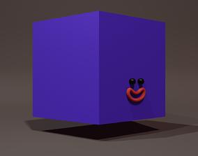 3D model Happy Default Cube Purple - Funny Cartoon Style