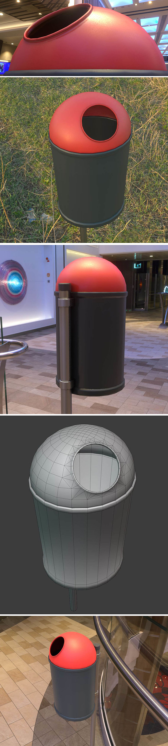 Low-Poly Black Red Plastic Trash Can