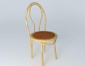 3D model bent wood cafe chair
