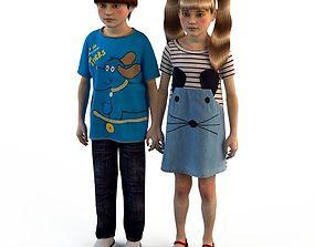 Group of children child boy girl playroom childrens 3D