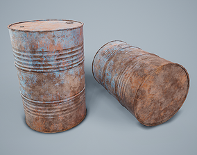 3D asset low-poly Oil Drum PBR Game Ready