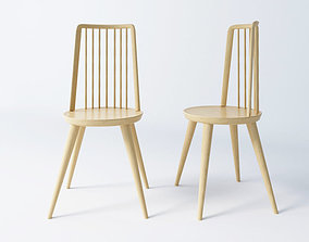 simple elegant new modern wooden dining chair 3D